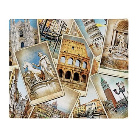 Italy Photo Collage Throw Blanket