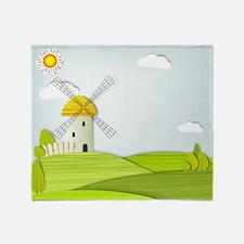 Artistic Windmill Landscape Throw Blanket
