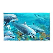 Beautiful Dolphin Painting 3'x5' Area Rug