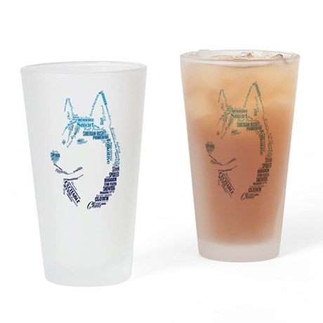 Husky Words Drinking Glass