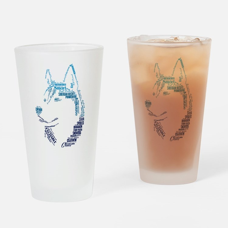 Husky Words Drinking Glass