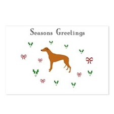Red Fawn Greyhound xmas Postcards (Package of 8)