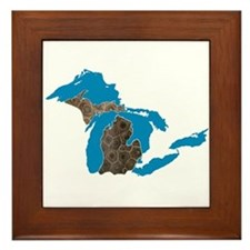 Great lakes Michigan petoskey stone Framed Tile