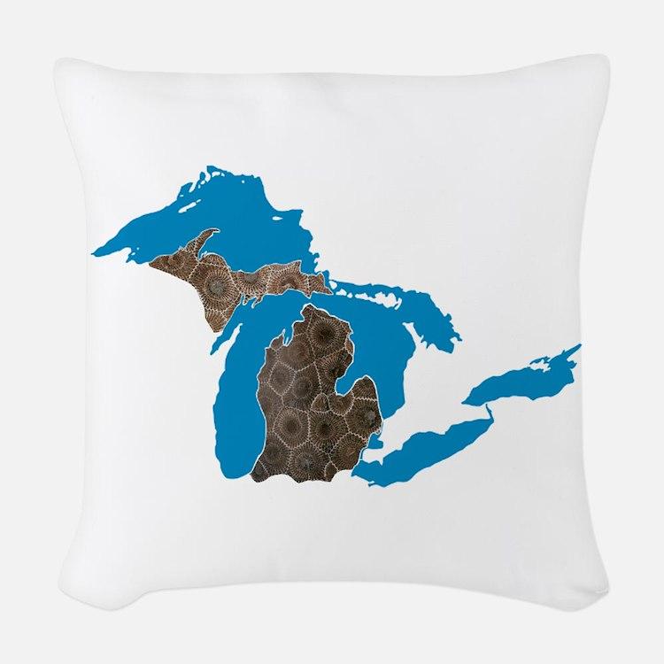 Great lakes Michigan petoskey stone Woven Throw Pi