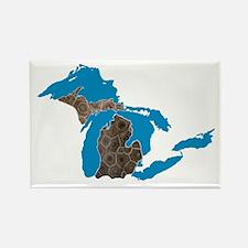 Great lakes Michigan petoskey stone Rectangle Magn