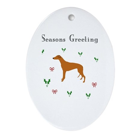 Red Fawn Greyhound xmas Oval Ornament