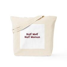 Half WOLF Half Woman Tote Bag