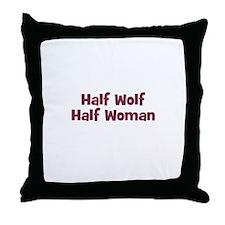 Half WOLF Half Woman Throw Pillow