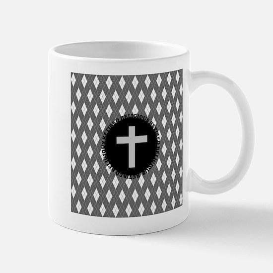 retired religious argyle 4 grey Mug