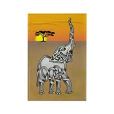 Trumpeting Elephant Rectangle Magnet