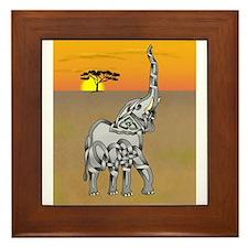 Trumpeting Elephant Framed Tile