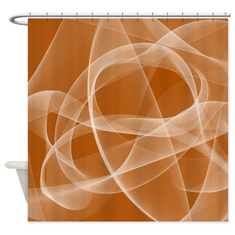 Orange Fractal Shower Curtain By Cheriverymery