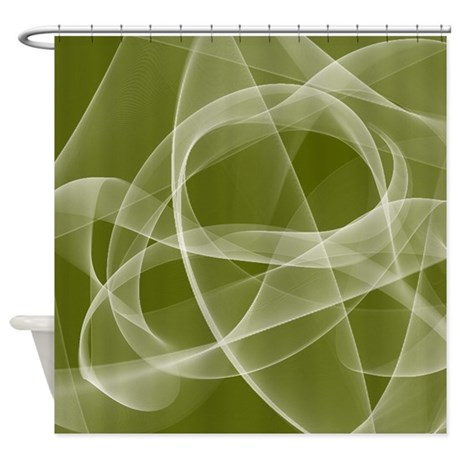 Olive Green Fractal Shower Curtain By Cheriverymery