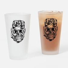 Aviator Skull Drinking Glass