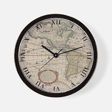 Ancient World Map 1630 Wall Clock