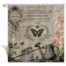 Vintage French Watering can Shower Curtain