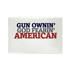 Gun owning GOD fearing american Rectangle Magnet