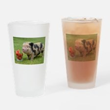Micro pig with strawberries Drinking Glass