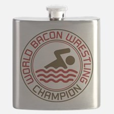 World Bacon Wrestling Champion Flask