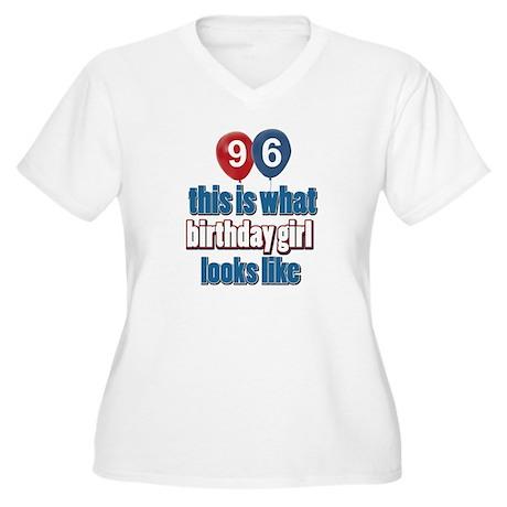 96 year old birthday girl Women's Plus Size V-Neck