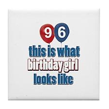 96 year old birthday girl Tile Coaster