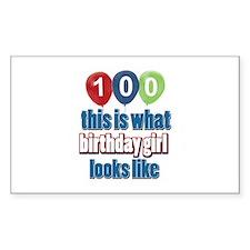 100 year old birthday girl Decal