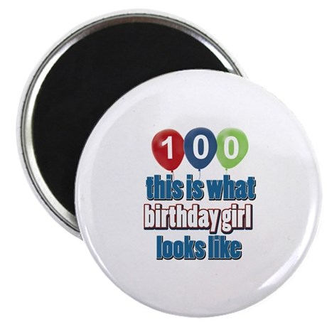 """100 year old birthday girl 2.25"""" Magnet (100 pack)"""