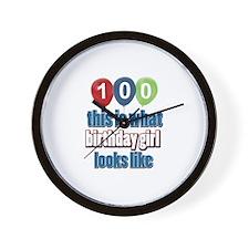 100 year old birthday girl Wall Clock