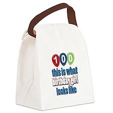 100 year old birthday girl Canvas Lunch Bag