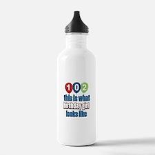 102 year old birthday girl Water Bottle