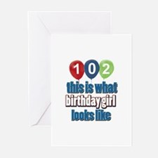 102 year old birthday girl Greeting Cards (Pk of 2