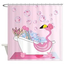 Bubble Bath Time Flamingo Shower Curtain