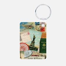 Vintage Passport travel collage Keychains