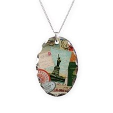 Vintage Passport travel collage Necklace