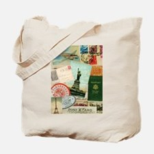 Vintage Passport travel collage Tote Bag