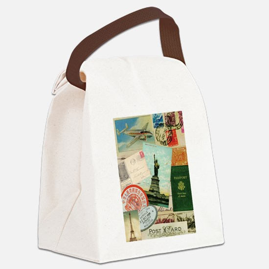 Vintage Passport travel collage Canvas Lunch Bag