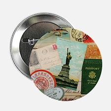 """Vintage Passport travel collage 2.25"""" Button"""