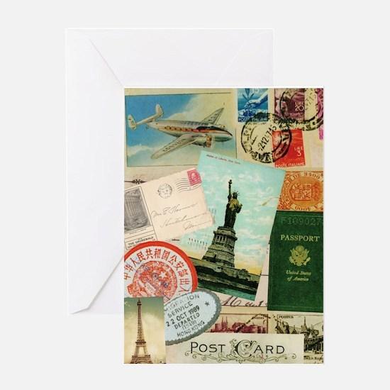 Vintage Passport travel collage Greeting Card