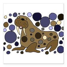 "Colorful Walrus Art Square Car Magnet 3"" x 3"""
