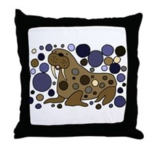 Colorful Walrus Art Throw Pillow