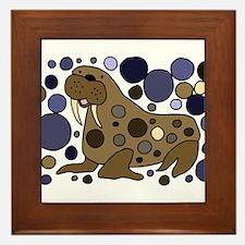 Colorful Walrus Art Framed Tile