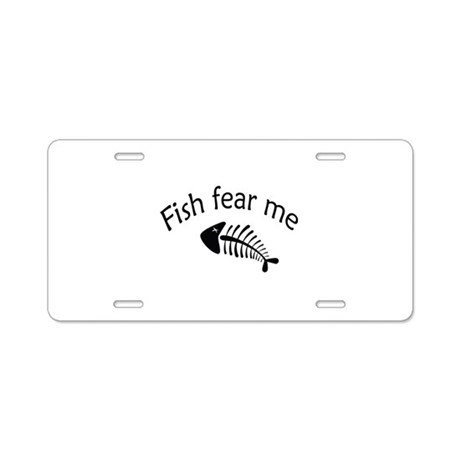Fish fear me aluminum license plate by designalicious for Fishing license near me