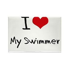 I love My Swimmer Rectangle Magnet
