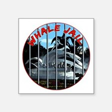 "Whale Jail Square Sticker 3"" x 3"""