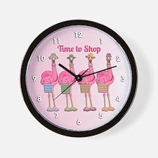 Flamingo Time to Shop Wall Clock