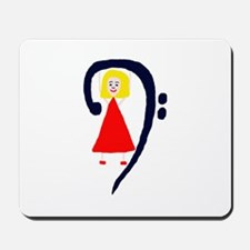 Blonde female blue bass clef red dress Mousepad