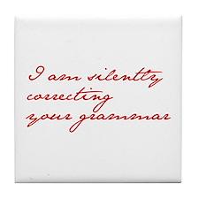 silently-correcting-jane-red Tile Coaster