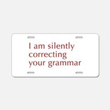 silently-correcting-opt-red Aluminum License Plate