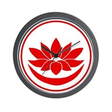 Buddhist Lotus Red Wall Clock