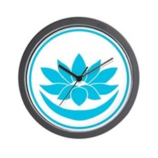 Buddhist Lotus Blue Wall Clock